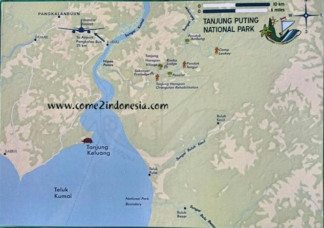 Peta Taman Nasional Tanjung Puting yang akan dilewati oleh klotok